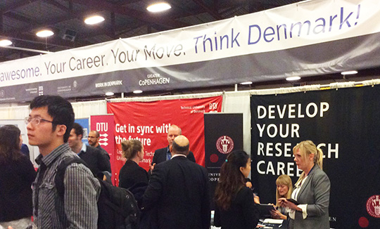 WorkInDenmark will expose your open jobs at job fairs around the world. Wherever highly educated talents go for career advice