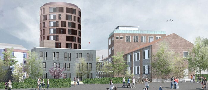 New student housing on corner of Jagtvej and Lersø Park Allé features landmark building.