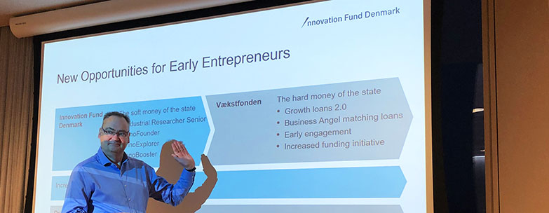 Lars Winther, Soft Funding Investor at Innovationsfonden, speaking at a Copenhagen science City