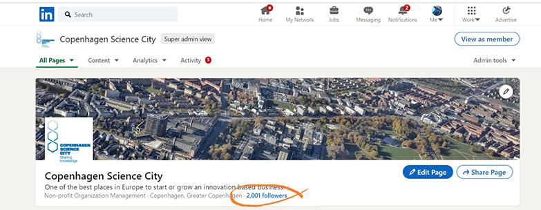 Copenhagen Science City when we got 2001 followers on LinkedIn